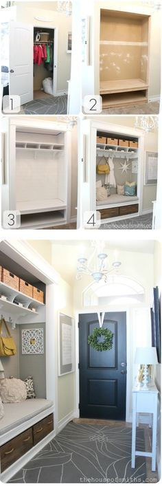Converting Unused Closet into a Custom Mudroom Nook! Possibly do to mud room....get rid of tiny bench and open up coat closet...viola!