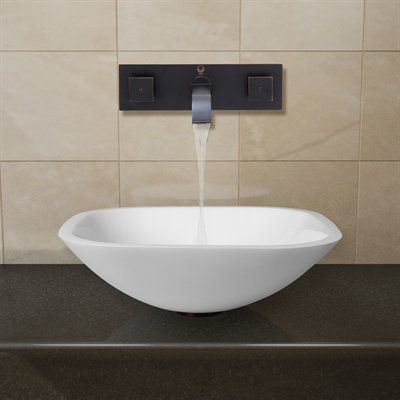 vigo vgt22 square shaped white phoenix stone glass vessel sink with wall mount faucet
