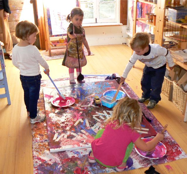 Collaborative Classroom Projects ~ Floor painting large canvas would do this outside but