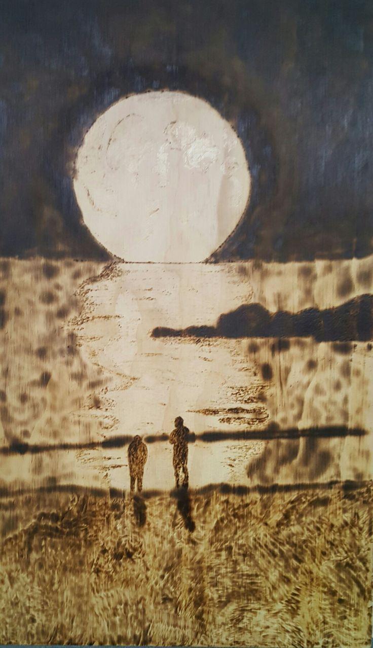 Moon pyrography by hady al hayek