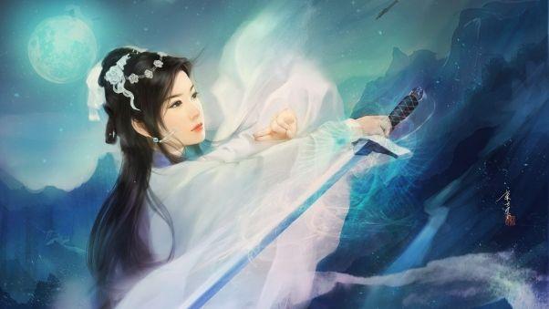 Wallpaper asian, kimono, sword