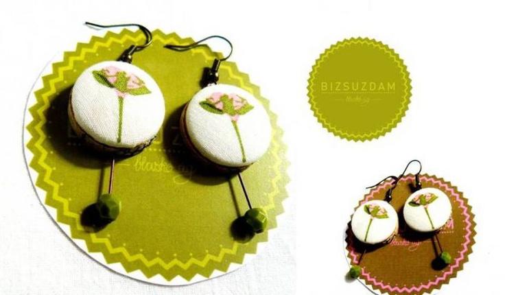 Zöld rózsaszín fülbevaló by http://www.breslo.hu/BIZSUZDAM/shop