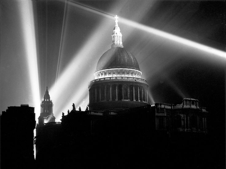 Searchlights form the V-for-victory in the night sky over St. Paul's cathedral in London on 8 May 1945. VE (Victory in Europe) Day was celebrated as a public holiday and marked the end of the second world war in Europe following the Nazi surrender on 30 April. London's night-time blackout lasted for 5 years