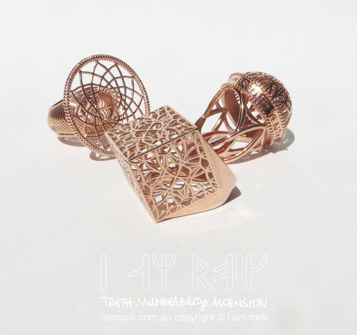 i am rock 14K Rose Gold Plated Statement Rings - Dreams, Surrender and Abundance designs (left to right). Currently on sale through I am rock kickstarter campaign. Check it out http://kck.st/2jYhKv8