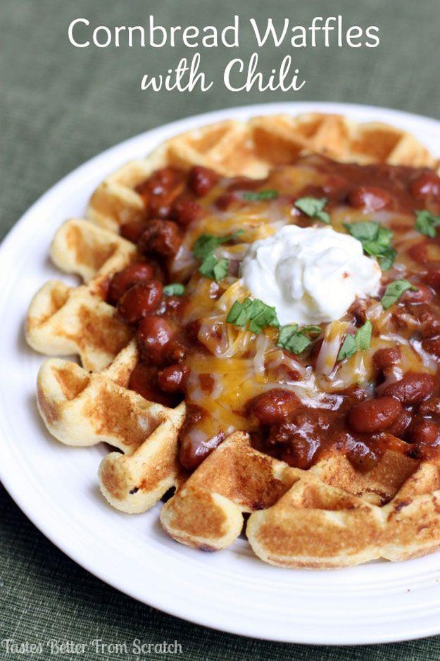 Food Truck Recipes - Cornbread Waffles with Chili