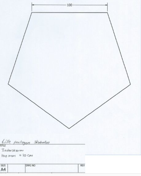 Arbejdstegning af lille pentagon