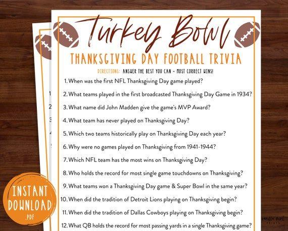 Thanksgiving Day Football Trivia Game Nfl Turkey Bowl Trivia Thanksgiving Printable Games Fun Thanksgiving Trivia Game Friendsgiving In 2020 Thanksgiving Day Football Thanksgiving Facts Football Trivia
