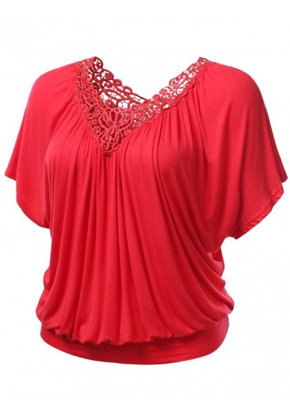 Short Sleeve Jersey Blouse with Crochet Collar Detail #jtomsonplussize