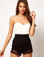 ASOS Bandeau Playsuit With Lace Knicker Shorts