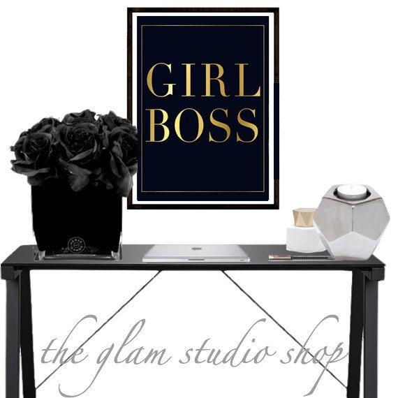 Gold Foil Print Girl Boss Art print stampa tipografica idea regalo per lei stampa in oro digital download printable art poster motivazionale