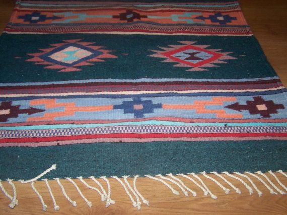Vintage Ethnic Native American Indian Print Saddle Blanket Rug Bright Colors Western Ranch Cowboy Decor 30 5 X 59