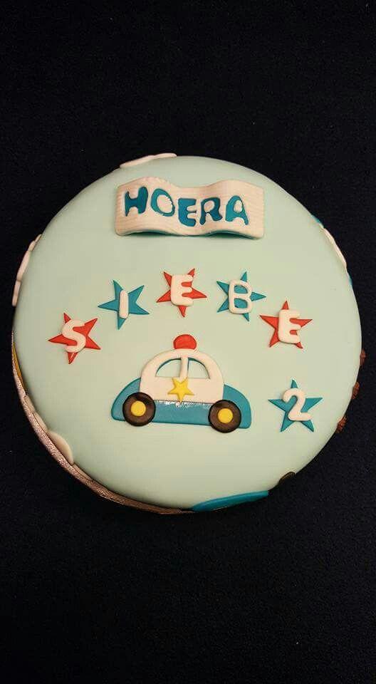 Politie auto taart fondant voor verjaardag jongen