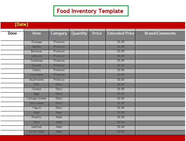 14 best WOw images on Pinterest Word templates, Free stencils - food inventory template