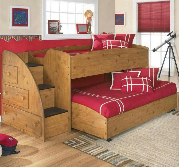 Diy bunk trundle bed hi home pinterest diy bed for Futon kids room