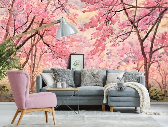 Blooming Cherry Trees Wallpaper Self Adhesive Peel And Stick Etsy Tree Wallpaper Abstract Wallpaper Wall Murals