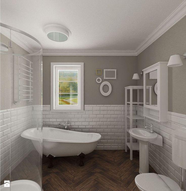 Zdjęcie: łazienka i białe cegiełki