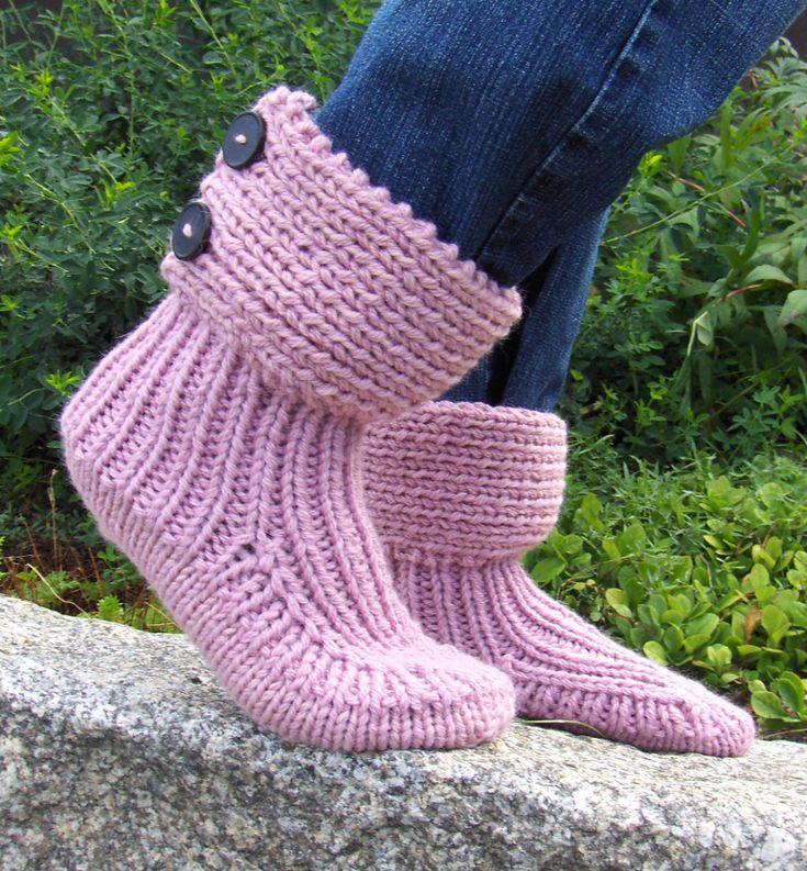 Padrão de tricô livre para botas de chinelo de meias de lua