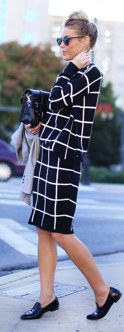 Black And White Windowpane Taylor Skirt And Top Set by Happily Grey