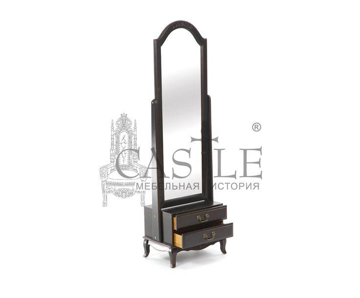 Напольное зеркало-псише из массива. Для хранения предусмотрены два выдвижных ящика для мелочей. Исполнено в черном цвете с патиной. Прекрасно впишется в интерьер спальни в стиле Кантри или Прованс.