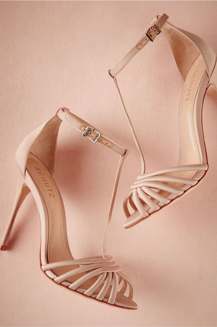 neutral high-heeled bridal shoes   Garance T-Straps from BHLDN