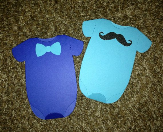 Bowtie Onesie Card For Baby Shower Invitation, Baby Announcement Or Thank  You Cards Bow Tie. Mustache DecorationsBoy ...
