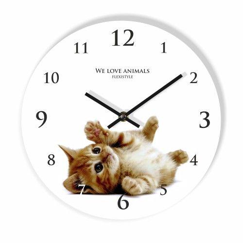 Nástenné hodiny do detskej izby s mačiatkom