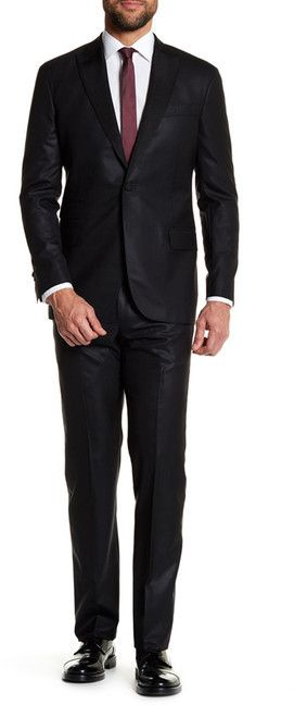 Michael Bastian Black Sharkskin Single Button Peak Lapel Wool Extra-Trim Fit Suit