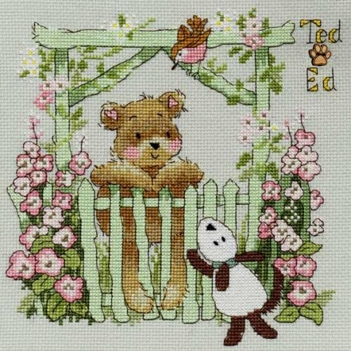 'A Little Birdie Told Me' cross stitch kit. (8 x 8in). Kit contains chart and instructions, needle, 14 count misty blue Aida fabric and presorted stranded cotton threads on a loaded thread organiser.
