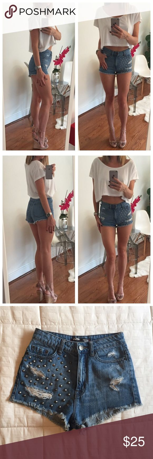 BDG High Waisted Jean Shorts These super cute BDG high rise cheeky studded jean shorts from Urban Outfitters are a size 25 and fit as that. The fit on these are amazing! A must have for summer! Urban Outfitters Shorts Jean Shorts