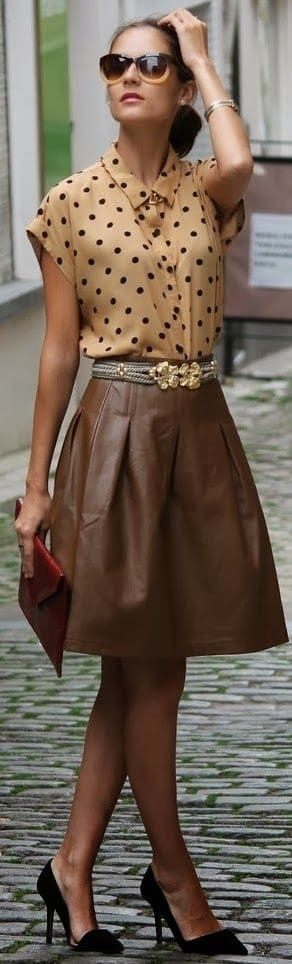 Fall's 5 Hottest Prints to Wear...Polka Dots. Camel polka dot top with brown leather skirt