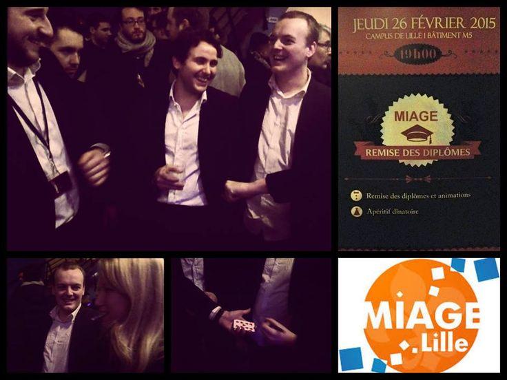 Hier soir c'était magie de closeup pour le cocktail de remise des diplômes des étudiants du Master MIAGE à l'université de Lille 1  Animation  Tom le Magicien Lille
