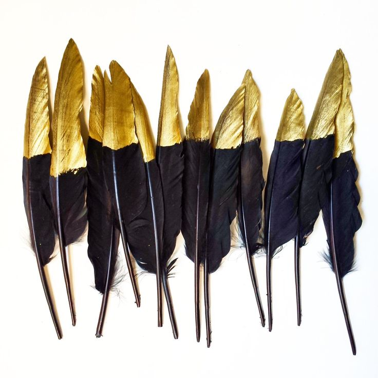 Gold Dipped Feathers - Decorative Black Feathers - Gold Tipped Feather - Part Decoration - Decor - Metallic - Garland - Table Setting Party by StellaArborBoutique on Etsy https://www.etsy.com/listing/242422899/gold-dipped-feathers-decorative-black