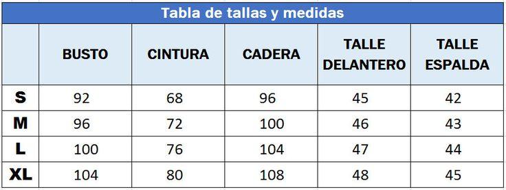 Tabla de tallas y medidas S M L Blusas Baul Costureras