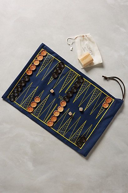 Anthropologie - Roll-Up Backgammon & Checker Set Camping Crafts, Fun Crafts, Diy And Crafts, Backgammon Game, Bored Games, Diy Cadeau, Sewing Projects, Diy Projects, Diy Games