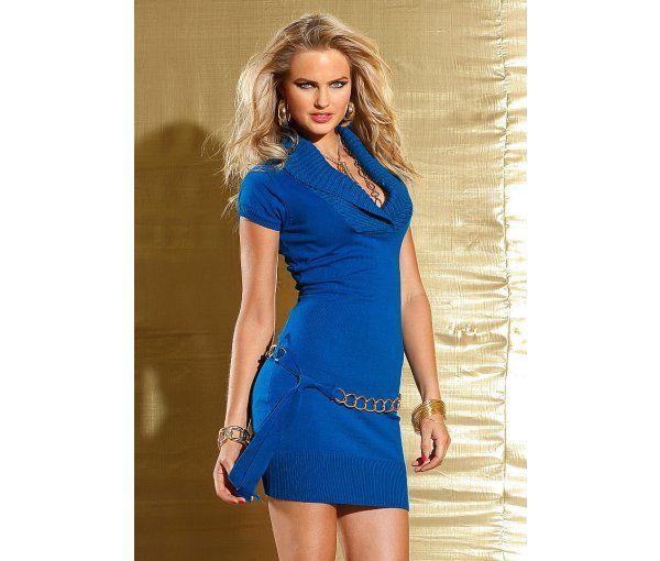 rochie tricotata albastru royal cu cordon auriu