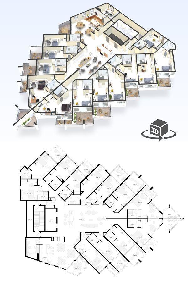 Large Apartment Floor Plan For Entire Floor In Interactive 3d Get Your Own 3d Mod Condo Floor Plans Penthouse Apartment Floor Plan Small Apartment Floor Plans