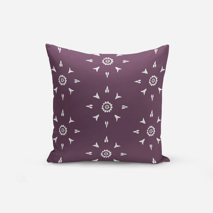 Modern Purple Throw Pillows with Decorative Garnet Red Chartreuse Black and White