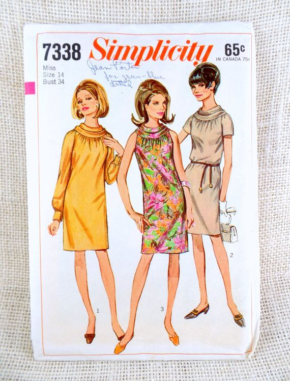 Simplicity 7338 vintage sewing pattern by momandpopcultureshop