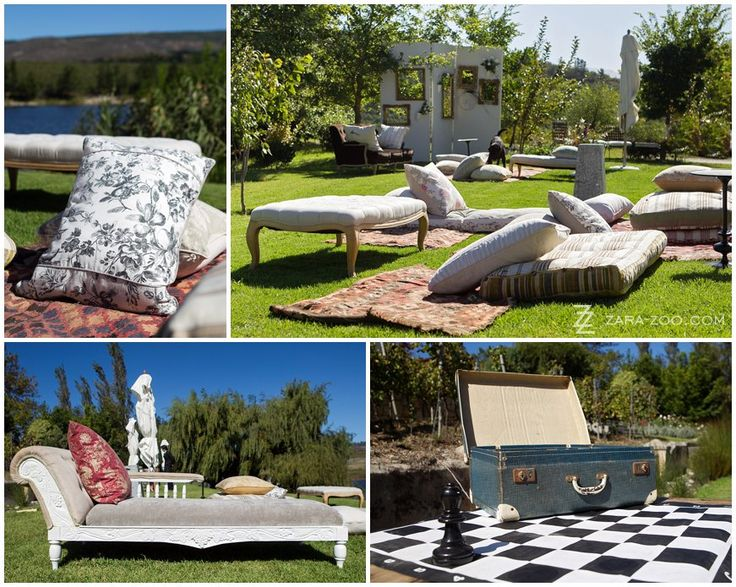 #Picnic for your pre-reception #drinks on the grass.  The #pillows & #decor provided by #Okasie, a #Stellenbosch based #flowers & #decor company. See more of this wedding at #Rockhaven in Elgin, #Southafrica on the ZaraZoo blog.  http://www.zara-zoo.com/blog/wedding-at-rockhaven/