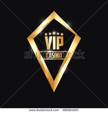 Logo Diamond VIP Casino Gold Five Star  - stock vector