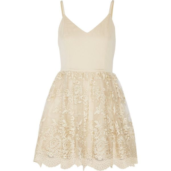 Alice + Olivia Julianne Ballerina crepe de chine and embroidered tulle... ($495) ❤ liked on Polyvore featuring dresses, ivory, alice+olivia dresses, mini party dresses, ivory cocktail dress, ivory dress and embroidered dress