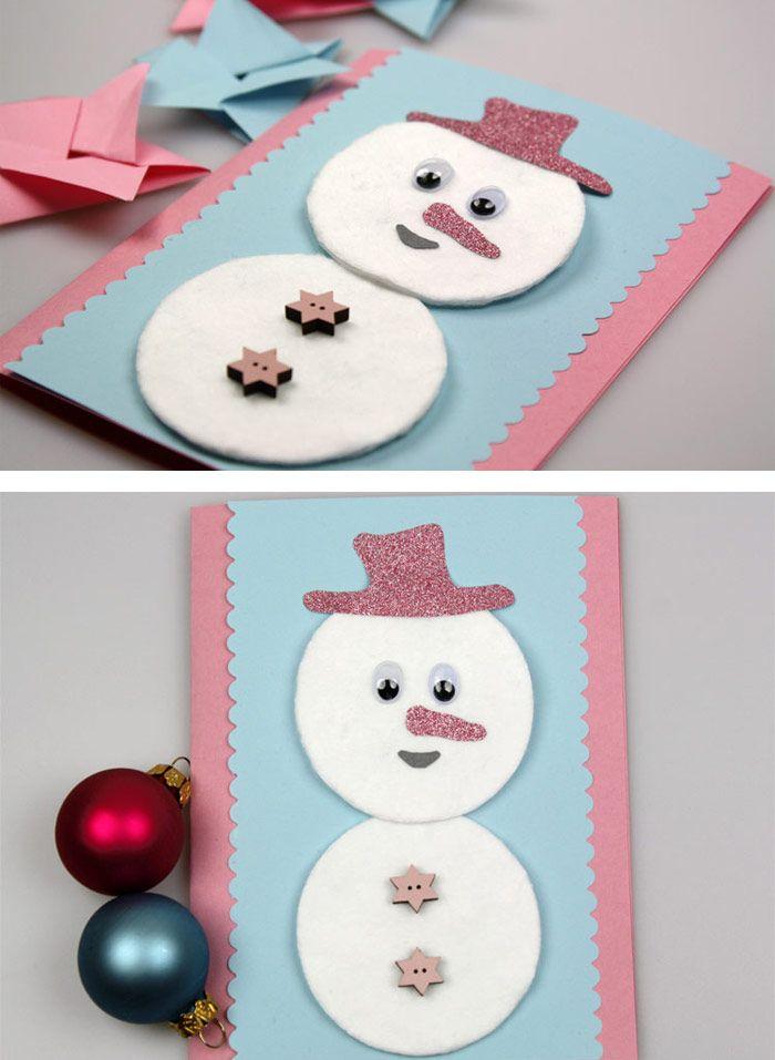 Diese einfache Weihnachtskarte kann man toll mit Kidnern basteln! https://www.deindiy.de/weihnachtskarten-basteln-mit-kindern/ #deindiy #weihnachtskarte #basteln