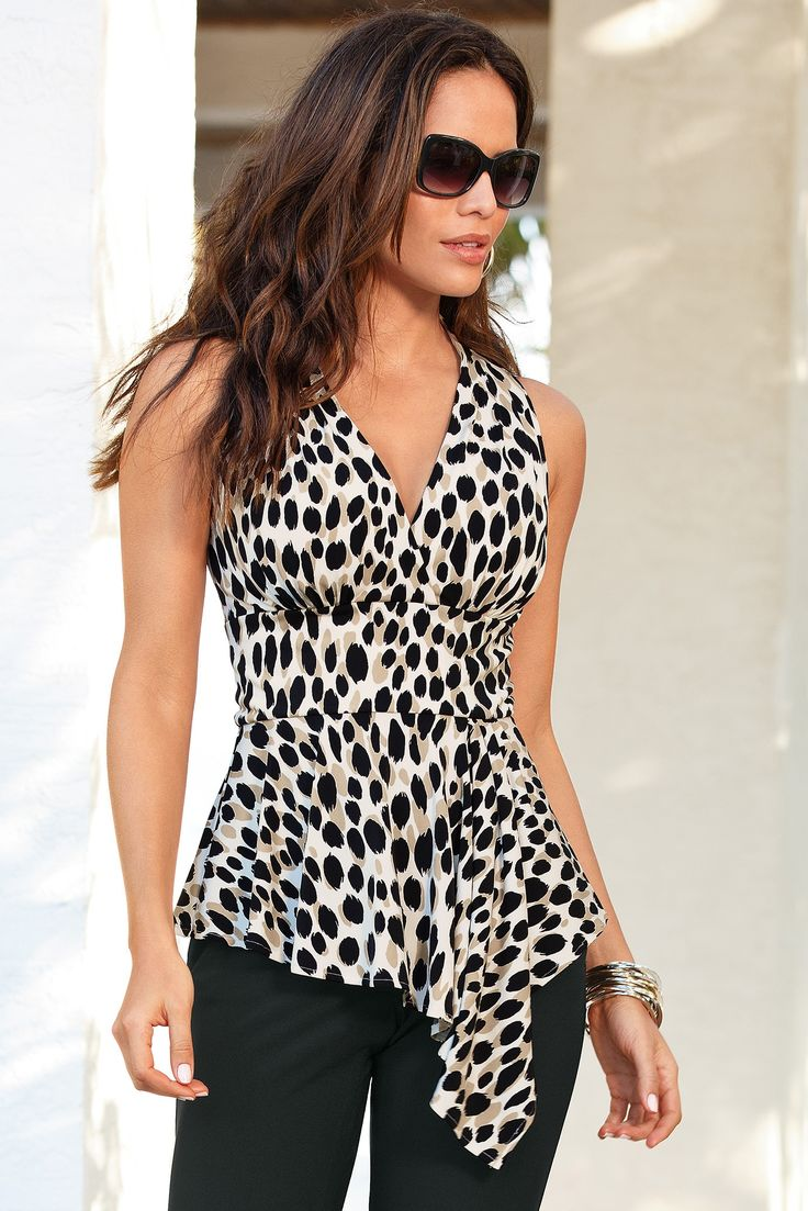 Boston Proper Spotted animal drape top #bostonproper