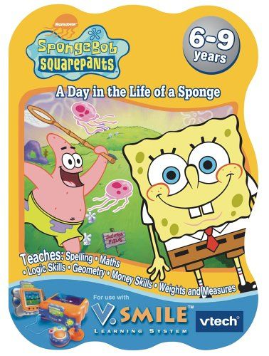 Vtech V.Smile Learning Game: SpongeBob SquarePants: A Day in the Life of a Sponge Play through a story and with a goal over a series of seven multi-curricular learning games (Barcode EAN = 0050803924430). http://www.comparestoreprices.co.uk/educational-toys/vtech-v-smile-learning-game-spongebob-squarepants-a-day-in-the-life-of-a-sponge.asp