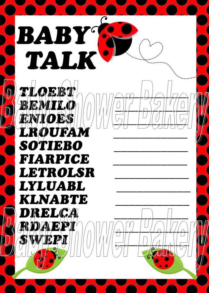 Ladybug Baby Shower Game Ladybug Baby Word by BabyShowerBakery, $5.50