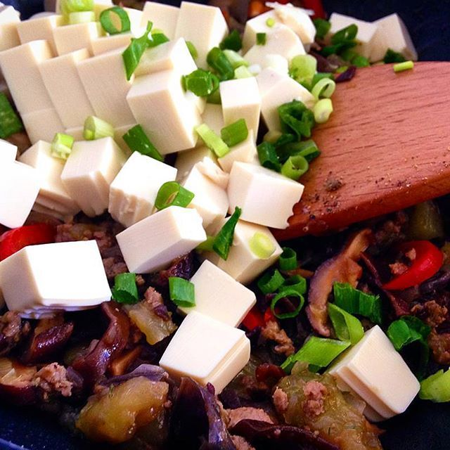 ♥ Silken tofu with vegetables and minced meat // Cook Up A Passion