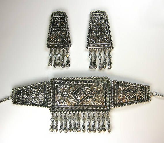 Intricate Indian Ethnic Antique Beaten Silver Effect Choker