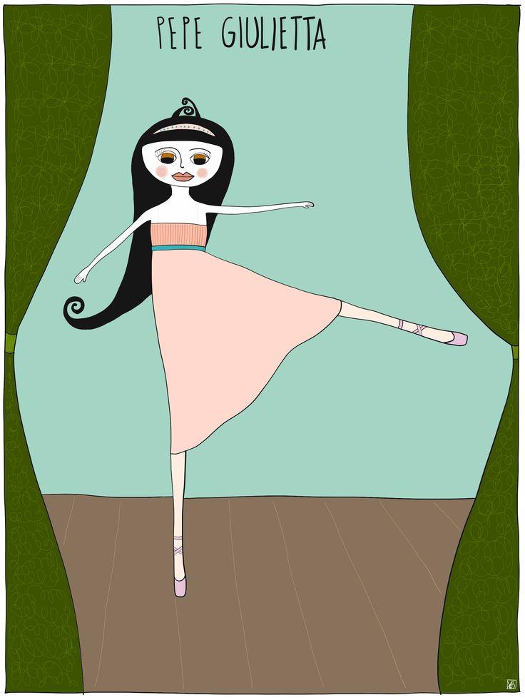 #illustration of Pepe #juliet #dancevariation from #romeoandjuliet by Monica Brini