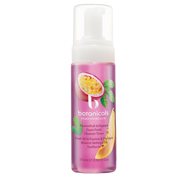 Our fun new Passionfruit & Papaya Foam Fresh Cleanser Toner!   A botanically-enriched formula that cleanses and tones in one easy step. This non-drying formula transforms from liquid to foam ready to dissolve impurities and condition the skin.
