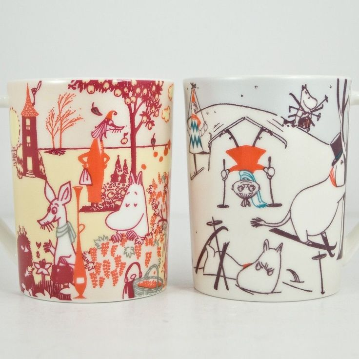 Set 2 Story of Moomin Valley Coffee Cups Mugs Seasons Fall and Winter Japan